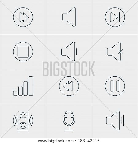 Vector Illustration Of 12 Music Icons. Editable Pack Of Speaker, Subsequent, Decrease Sound And Other Elements.