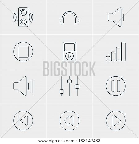 Vector Illustration Of 12 Melody Icons. Editable Pack Of Mp3, Pause, Start And Other Elements.