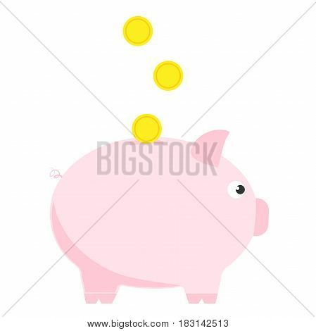 Pink piggy bank with three coins. Symbol of deposit and investment. Isolated vector