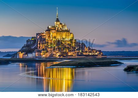 Mont Saint-michel In Twilight At Dusk, Normandy, France