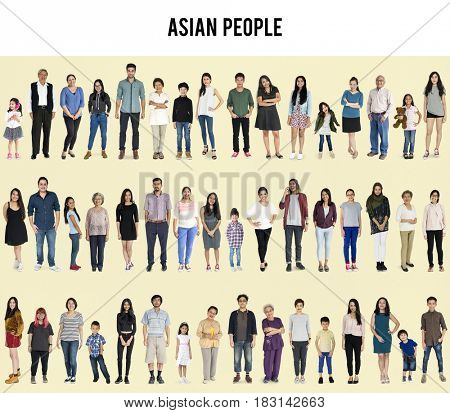 Group of Asian People Set Studio Isolated