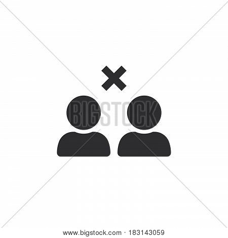 Break Relations Symbol. Remove From Friends Icon Vector, Solid Logo Illustration, Pictogram Isolated