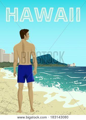 Poster with man at Waikiki beach of Oahu island, Hawaii, USA