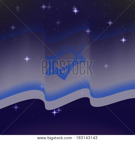 Waving flag of Israel. Background of the night starry sky. Shining in the colors of the national flag. vector illustration