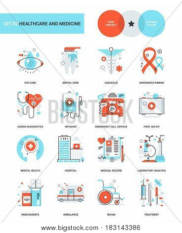 Abstract vector collection of healthcare and medicine conceptual flat line web icons.