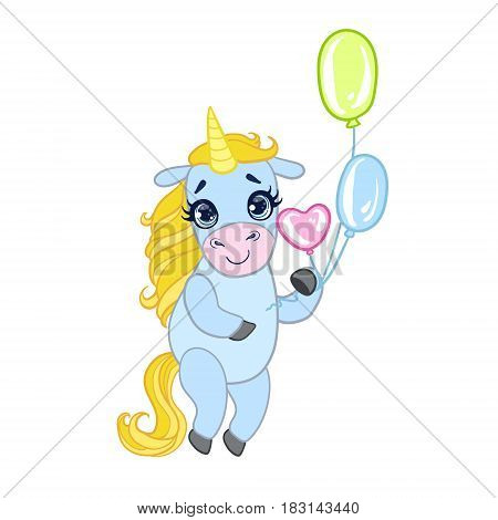 Cartoon light blue lovely unicorn standing and holding colorful balloons. Fairy tale vector character isolated on a white background