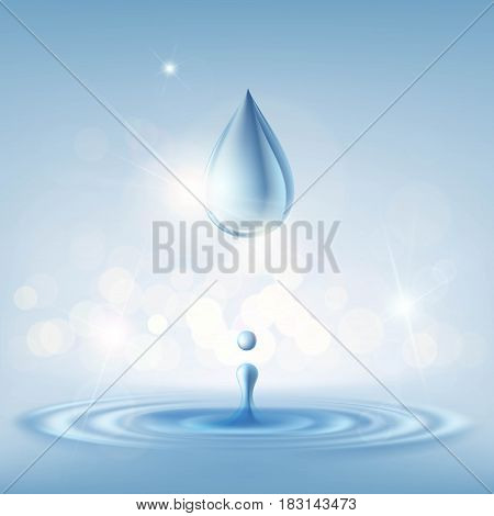 Texture clean drop of water with splashes. Stock vector illustration.