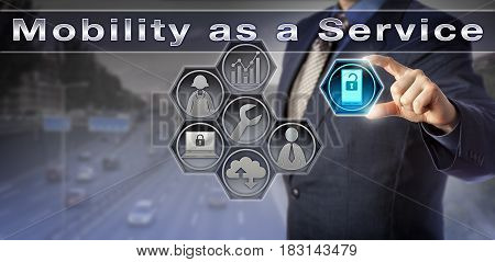 Blue chip enterprise manager is arranging for Mobility as a Service. Information technology concept for MaaS enterprise management of phones and tables of employees and management of mobile devices.