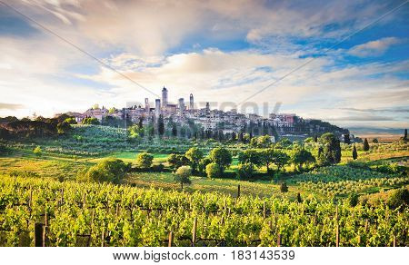 Beautiful Landscape With The Medieval City Of San Gimignano At Sunset In Tuscany, Province Of Siena,
