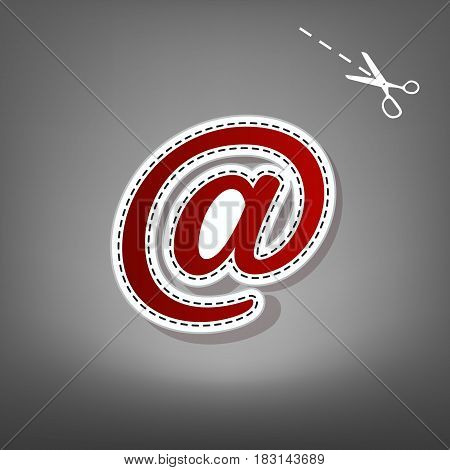 Mail sign illustration. Vector. Red icon with for applique from paper with shadow on gray background with scissors.