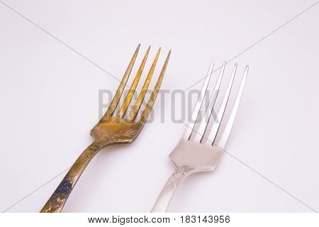 Old Metal Forks Isolated On A White Background.