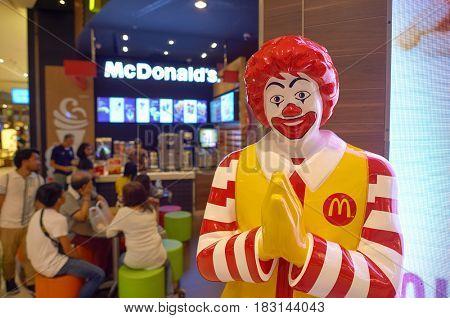 BANGKOK, THAILAND - JUNE 21, 2015: Ronald McDonald character at McDonald's restaurant in Bangkok.