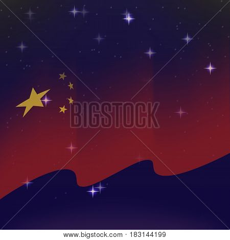 Waving flag of China. Background of the night starry sky. Shining in the colors of the national flag. vector illustration