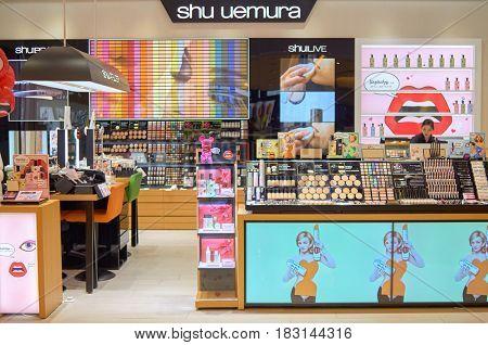 HONG KONG - MAY 05, 2015: Shu Uemura store at shopping center in Hong Kong.