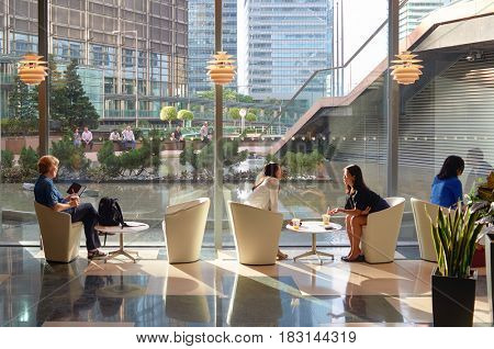 HONG KONG - JUNE 03, 2015: people drink beverages at a building in Hong Kong downtown.