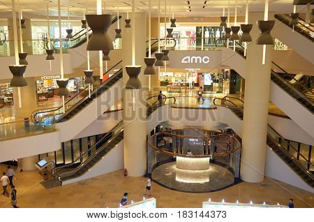 HONG KONG - JUNE 01, 2015: inside a shopping center. Hong Kong shopping malls are some of the biggest and most impressive in the world.
