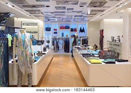 HONG KONG - JUNE 01, 2015: inside a store at a shopping center in Hong Kong