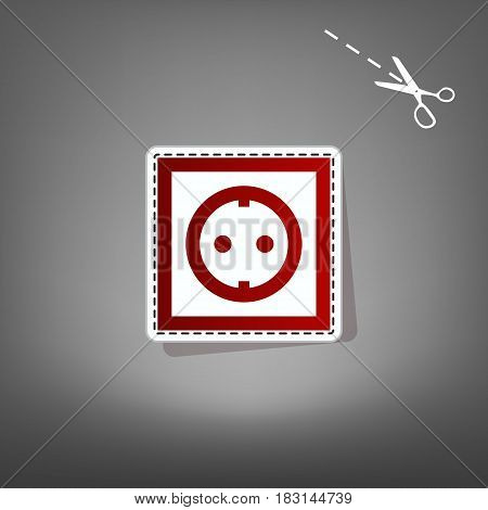 Electrical socket sign. Vector. Red icon with for applique from paper with shadow on gray background with scissors.