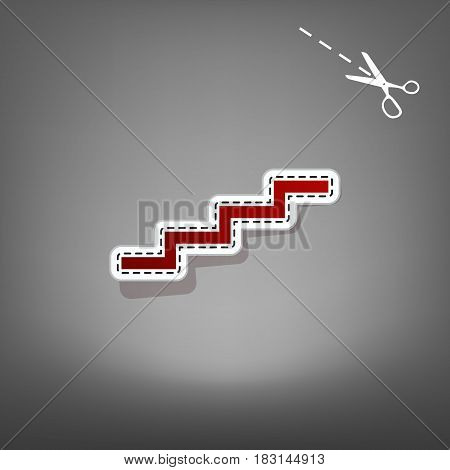 Stair up sign. Vector. Red icon with for applique from paper with shadow on gray background with scissors.