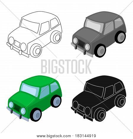 Car icon in cartoon design isolated on white background. Parking zone symbol stock vector illustration.