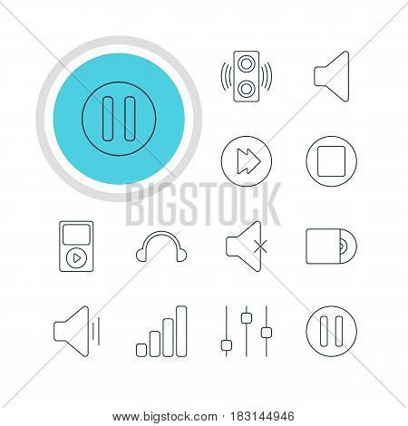 Vector Illustration Of 12 Melody Icons. Editable Pack Of Pause, Lag, Advanced And Other Elements.