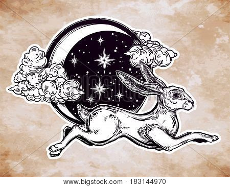 Hare or jackrabbit jumping over the night moon in vinatge style. Asian folklore, moon rabbit. Mid autumn festival. Tattoo, nature, wicca, symbol. Isolated vector illustration. Great outdoors.