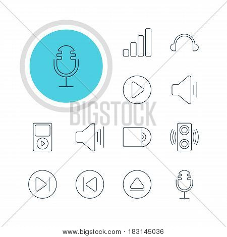 Vector Illustration Of 12 Music Icons. Editable Pack Of Amplifier, Volume Up, Rewind And Other Elements.