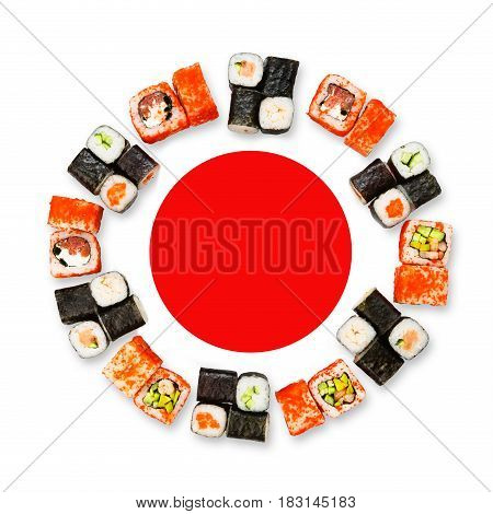 Sushi and rolls. Japanese food restaurant delivery mockup for logo. Meals circle platter set isolated on white background, top view