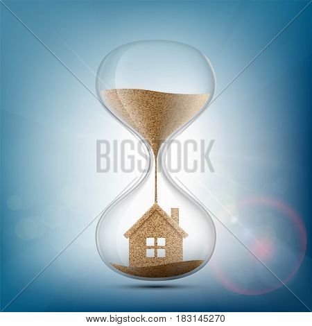 Hourglass with the house inside. Stock vector illustration.