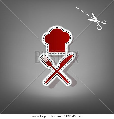 Chef with knife and fork sign. Vector. Red icon with for applique from paper with shadow on gray background with scissors.