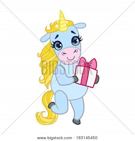 Cartoon light blue unicorn standing with gift box. Colorful vector character isolated on a white background