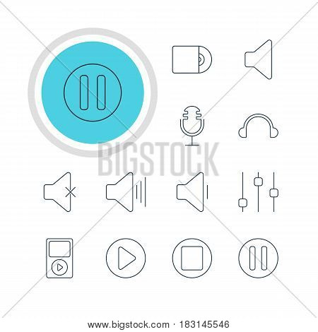 Vector Illustration Of 12 Music Icons. Editable Pack Of Lag, Soundless, Start And Other Elements.