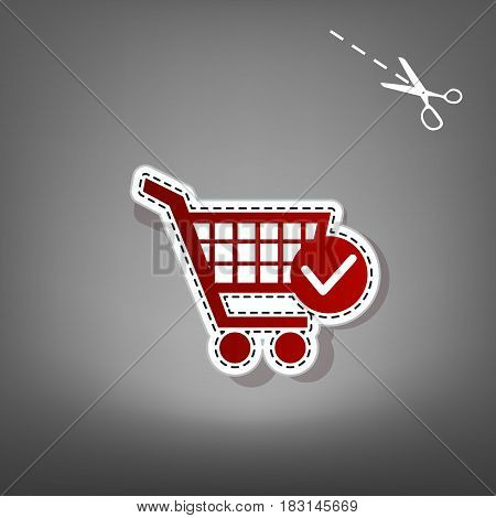 Shopping Cart with Check Mark sign. Vector. Red icon with for applique from paper with shadow on gray background with scissors.