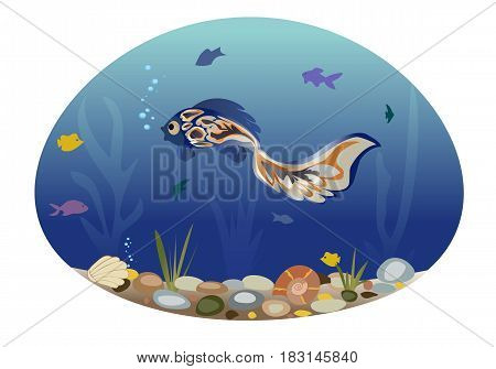 Sea landscape illustrating underwater life. Blue fish swims among seaweed and small fish. Vector illustration. Horizontal location.