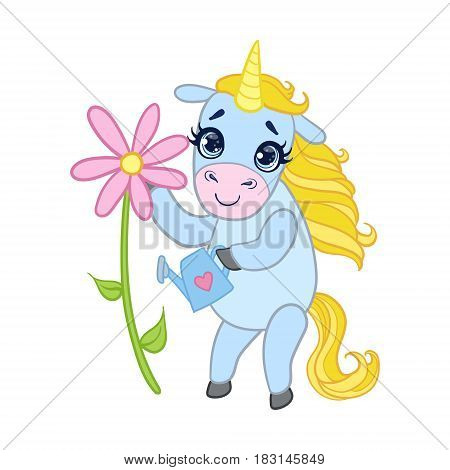 Cartoon light blue unicorn with flower. Colorful vector character isolated on a white background