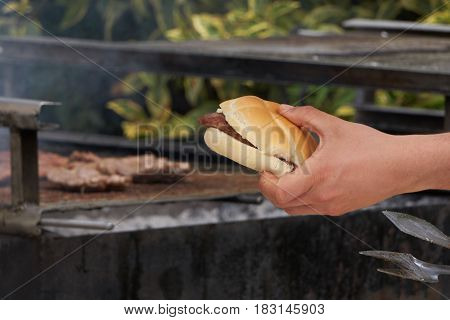 barbecue sausage in the bread for lunch