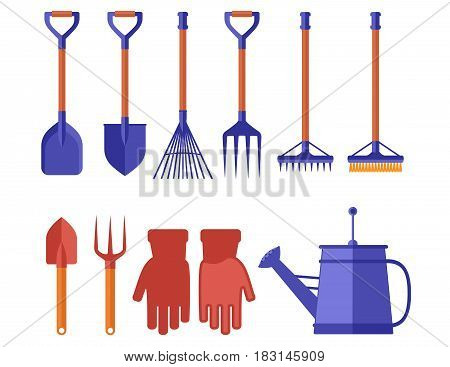 set of isolated colorful garden tools for gardening landscaping