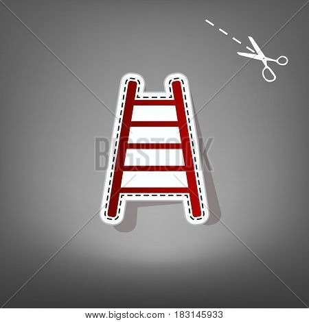 Ladder sign illustration. Vector. Red icon with for applique from paper with shadow on gray background with scissors.