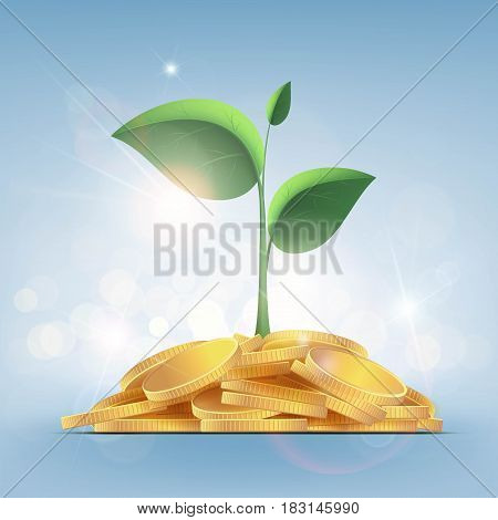 Green plant with leaves growing on a pile of gold coins. Stock vector illustration.