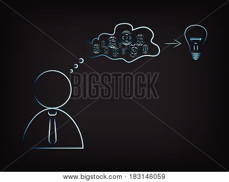 Businessman With Gearwheels Mechanism Elaborating Ideas