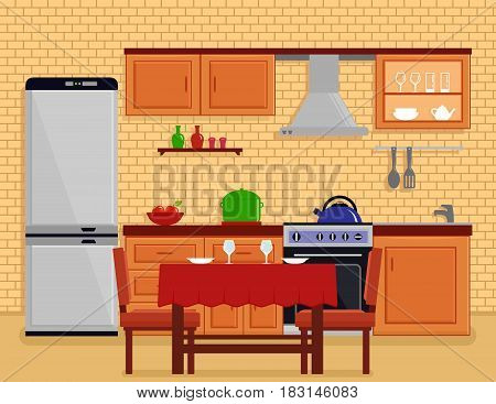kitchen interior with table desk. kitchen room with table covered with tablecloth