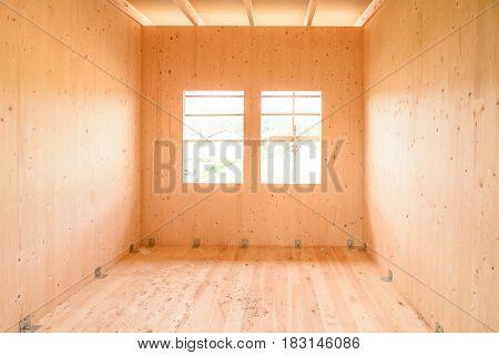 Building Energy Efficient Passive Wooden House.