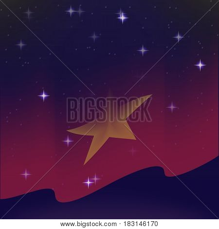 Waving flag of Vietnam. Background of the night starry sky. Shining in the colors of the national flag. vector illustration