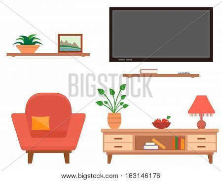 isolated furniture set for living room interior
