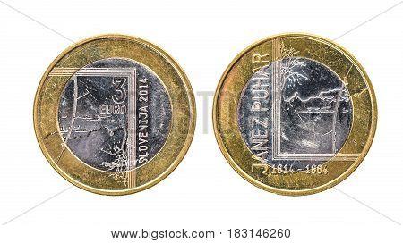 Used Commemorative Anniversary Bimetal 3 Euro € Slovenia Coin 2014.