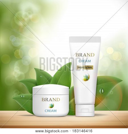 Set of plastic containers with cosmetic cream. Skin Care ads template. Stock vector illustration.