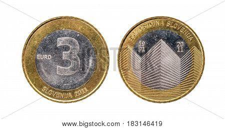 Used Commemorative Anniversary Bimetal 3 Euro € Slovenia Coin 2011.