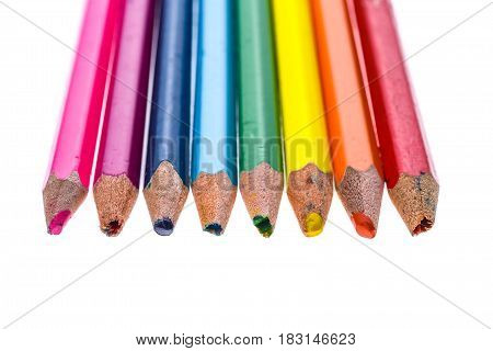 Set Of Old Used And Broken Colour Pencils Isolated White.