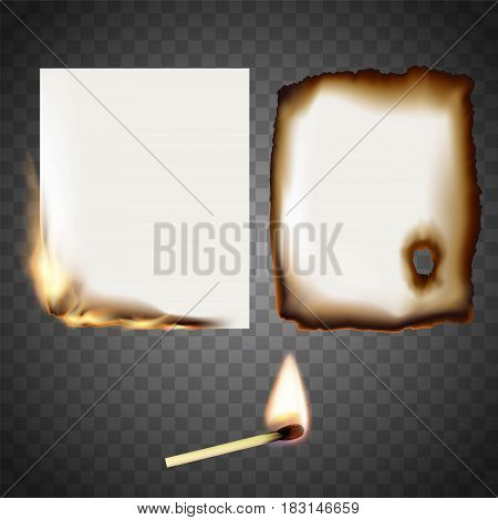 Set a white sheet of paper on fire and match. Stock vector illustration.