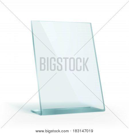 Plastic advertising stand holder for paper. Stock vector illustration.